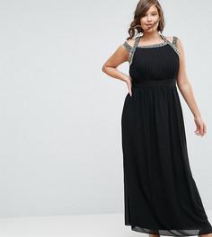 Платье макси с отделкой на спине TFNC Plus WEDDING - Черный