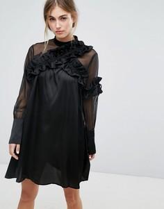 Платье с длинными рукавами и отделкой рюшами Lost Ink - Черный
