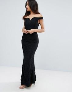 Кружевное платье макси с открытыми плечами Little Mistress - Черный