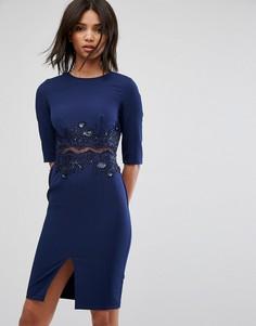 Платье-футляр с сетчатой вставкой и отделкой пайетками Little Mistress - Темно-синий