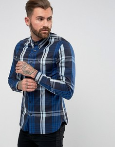Темно-синяя саржевая рубашка в клетку Fred Perry - Темно-синий