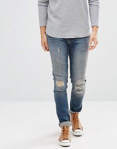 Темные джинсы скинни с рваной отделкой ASOS - Синий