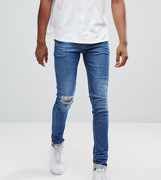 Синие джинсы скинни с рваной отделкой и заплатками ASOS TALL - Синий