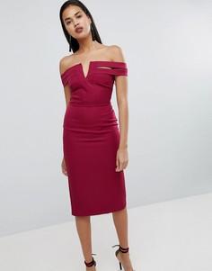 Облегающее платье с открытыми плечами River Island - Красный