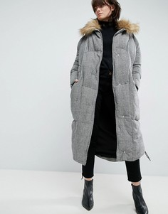 Дутое оверсайз-пальто в клетку ASOS WHITE - Мульти