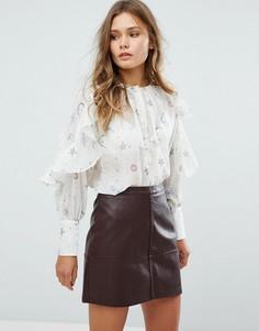 Блузка с оборками и принтом New Look - Белый
