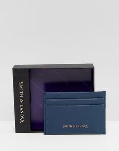 Темно-синяя кожаная визитница Smith And Canova - Синий