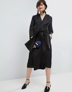 Атласное платье-кимоно миди ASOS WHITE - Черный