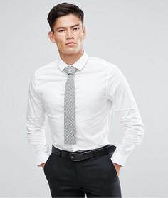 Белая приталенная рубашка с серым галстуком ASOS - СКИДКА - Белый