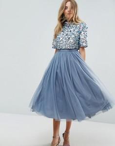 Платье миди из тюля с декорированным кроп-топом ASOS - Синий