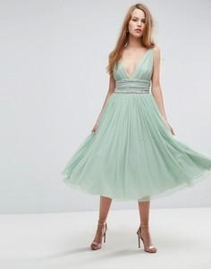 Декорированное приталенное платье миди из тюля ASOS - Зеленый