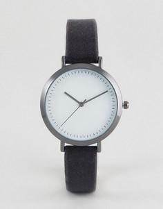 Темно-серые часы с бархатным ремешком ASOS - Серый