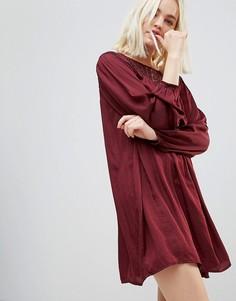 Свободное платье с длинными рукавами и кружевной кокеткой Hazel - Красный