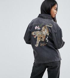 Джинсовая куртка оверсайз с вышивкой тигра Chorus Petite - Черный
