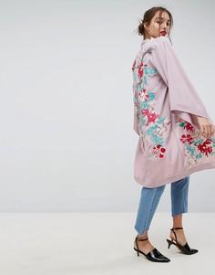 Легкое пальто-кимоно с вышивкой ASOS Premium - Фиолетовый