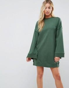 Трикотажное платье с расклешенными рукавами ASOS - Зеленый