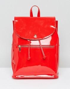Мягкий лакированный рюкзак с молнией ASOS - Красный