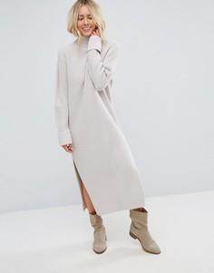 Вязаное платье макси с разрезами ASOS - Светло-бежевый