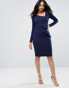 Платье-футляр с длинными рукавами и оборками City Goddess - Темно-синий