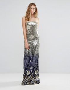 Платье-бандо макси с пайетками City Goddess - Золотой