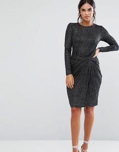 Платье мини с декорированными плечами и узелком спереди City Goddess - Черный