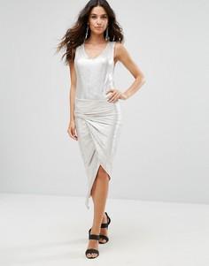Платье металлик с перекрутом Liquorish - Серебряный