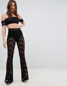 Кружевные расклешенные брюки ASOS - Черный