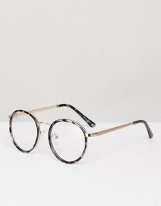 Черные круглые очки с прозрачными стеклами YHF Lindsay - Черный