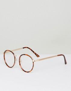 Круглые черепаховые солнцезащитные очки YHF Lindsay - Коричневый