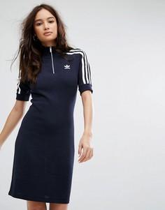 Темно-синее платье-поло с тремя полосками Adidas Originals - Темно-синий