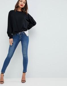 Темные джинсы скинни с заниженной талией ASOS - Синий