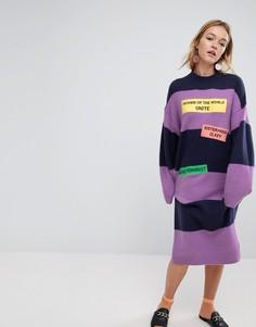 Платье-джемпер в полоску с надписью Women Unite Monki - Фиолетовый