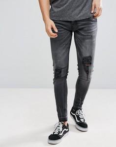 Рваные джинсы скинни с необработанными краями Brave Soul - Серый