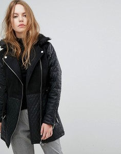 Длинная стеганая байкерская куртка New Look - Черный