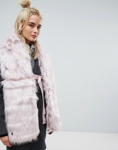 Розовый шарф из искусственного меха с застежкой-кольцом Urbancode - Розовый