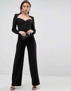Комбинезон с вырезом сердечком и широкими брюками ASOS Tailored - Черный