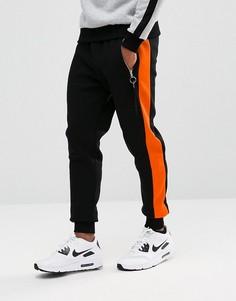Черные джоггеры скинни с оранжевой полосой Hype - Черный