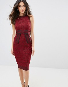 Платье-футляр с кружевной вставкой Vesper - Красный