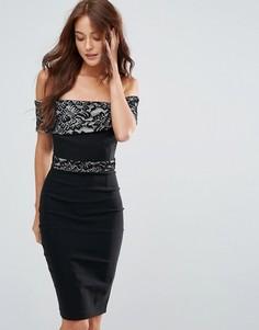 Платье-футляр с кружевом Vesper - Черный