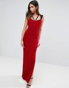 Кружевное платье макси с бретельками Vesper - Красный