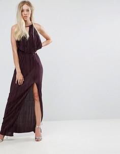Плиссированное платье макси в греческом стиле с оборкой Oh My Love - Фиолетовый