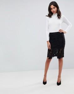 Кружевная юбка-карандаш Lunik - Черный
