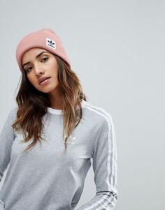 Розовая шапка-бини с логотипом adidas Originals - Розовый