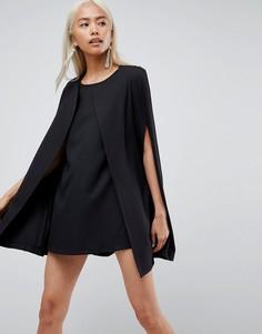 Цельнокройное платье с кейпом Unique 21 - Черный