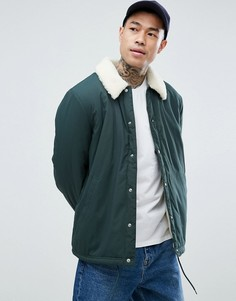 Зеленая спортивная куртка с подкладкой из искусственного меха ASOS - Зеленый