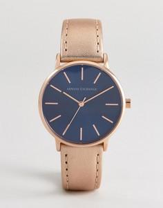 Золотистые часы с кожаным ремешком Armani Exchange AX5547 - Золотой