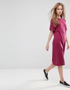 Платье-футболка миди с отворотами на рукавах ASOS Ultimate - Красный