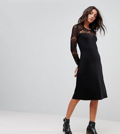 Свободное платье с длинными кружевными рукавами Y.A.S Tall Ciccu - Черный