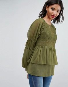 Прозрачная блузка из жатой ткани с пышными рукавами с оборками ASOS - Зеленый