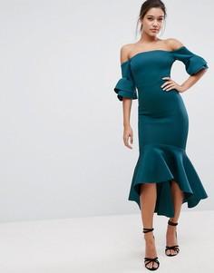 Облегающее платье миди с оборкой по краю ASOS PREMIUM - Зеленый